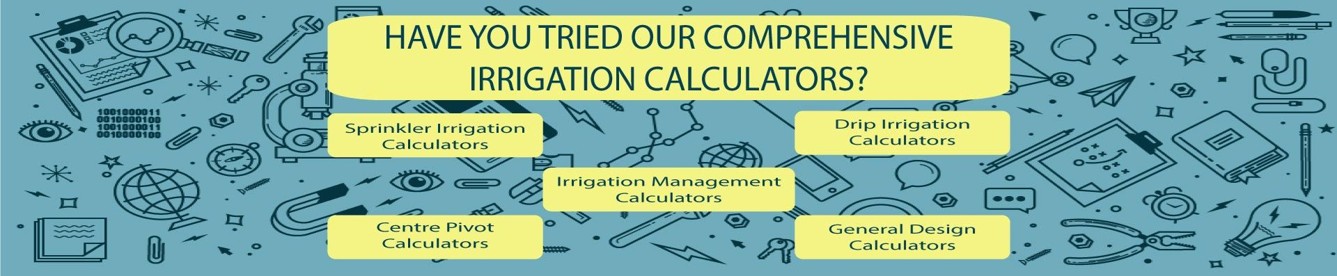 Comprehensive irrigation calculators