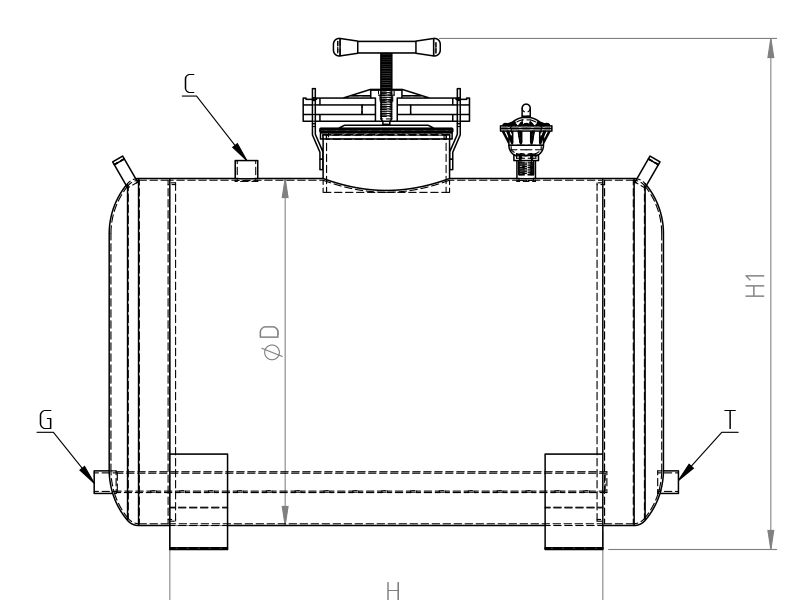 Horizontal Fertilizer tank dimensions
